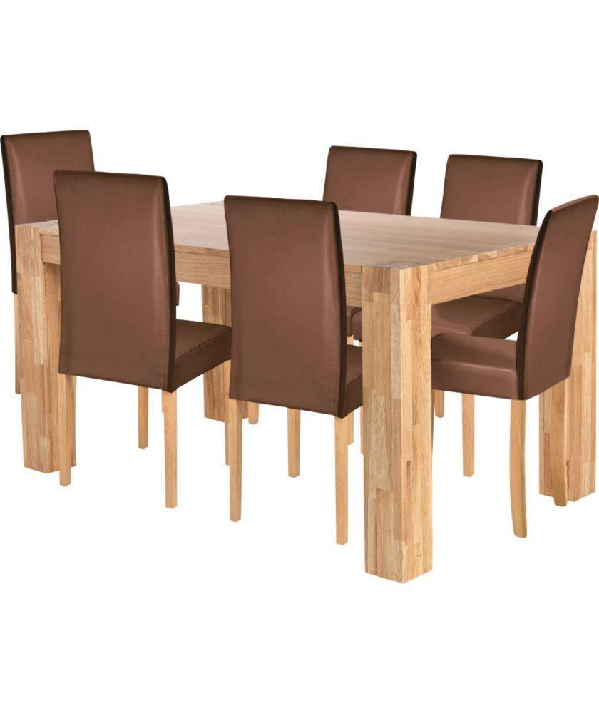 Indiana Oak Dining Table And 6 Chocolate Midback Chairs United Kingdom G