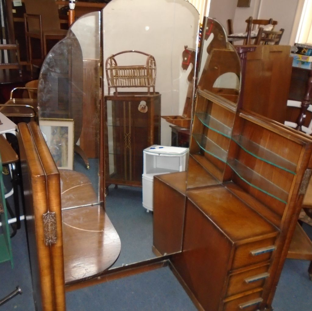 wooden dressing table and almost full length mirror vintage possible