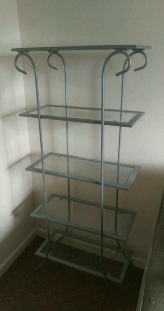 3 tier glass shelving unit buy sale and trade ads. Black Bedroom Furniture Sets. Home Design Ideas