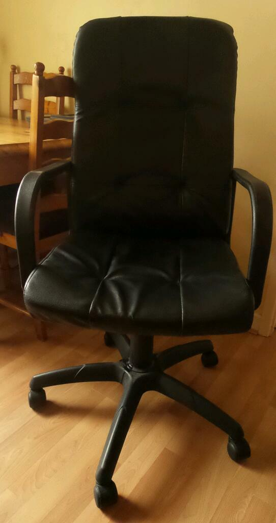Black Office Computer Chair Arm Rest Height Adjustable