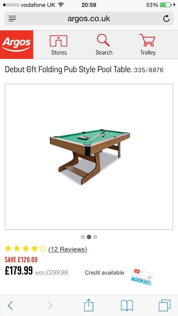 6ft Debut Pub Style Pool Table