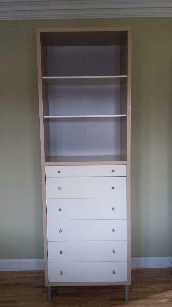 Ikea bookcase with 6 drawers in white and light wood for Ikea bookcase with drawers