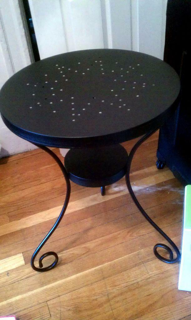 Noresund by ikea metal star table with a matching mirror for Metal nightstand ikea