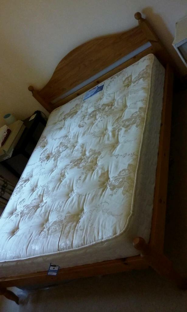 Pine Beds Penrith : Solid pine double bed and mattress united kingdom gumtree
