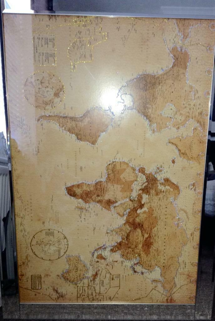 Large World Map Framed Large World Map With Mirror