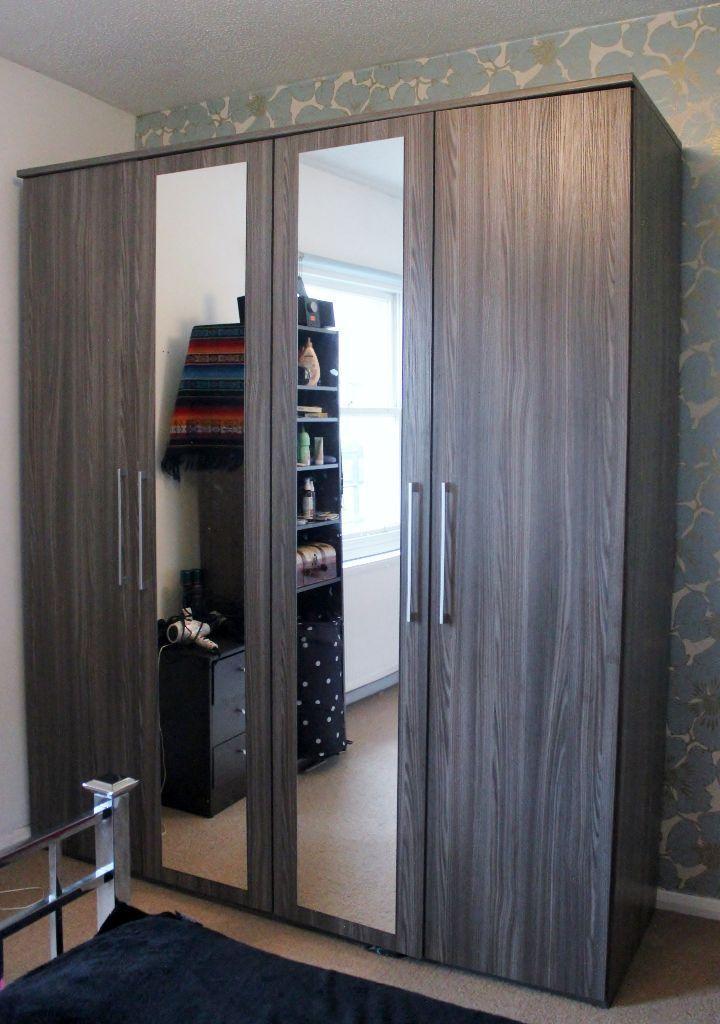Furniture village brown mirrored hinged 4 door wardrobe for Furniture village wardrobes