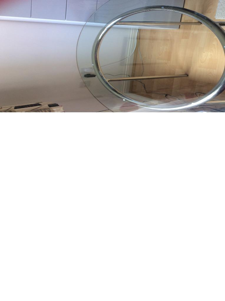 Glass chrome round ikea dining table united kingdom gumtree - Round glass dining table ikea ...