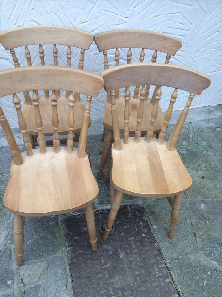 4 solid wood chairs united kingdom gumtree for Outdoor furniture epping
