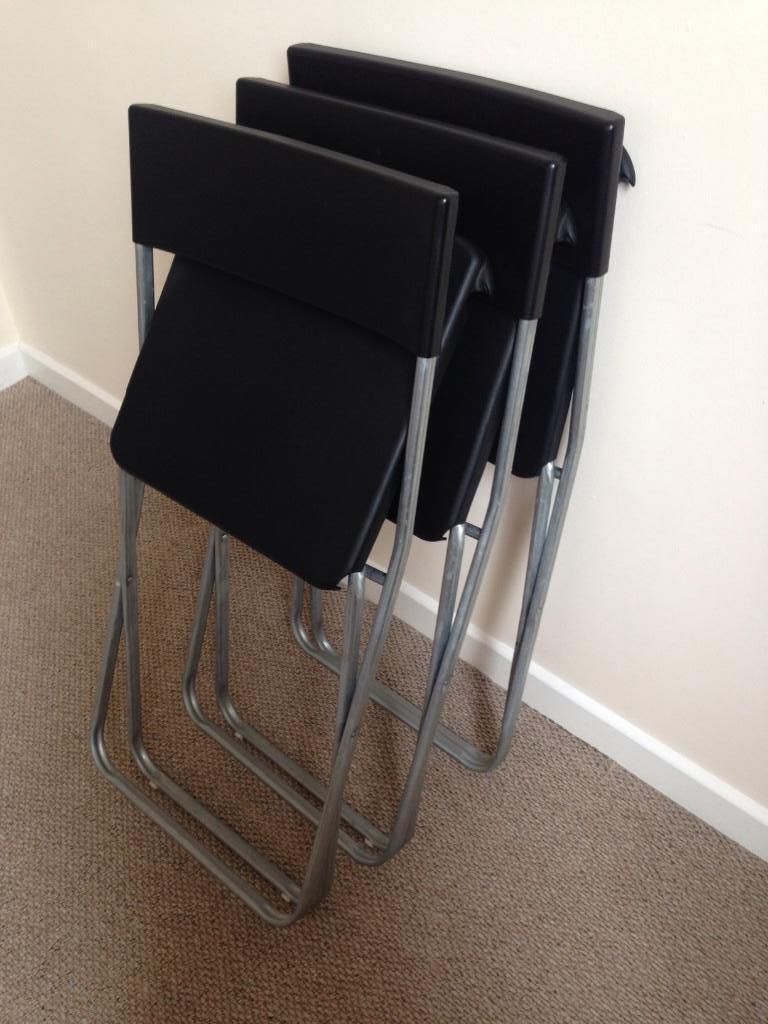 3 x Ikea black chairs fold out United Kingdom