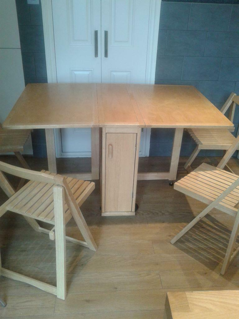 Gateleg Table With 4 Fold Away Chairs United Kingdom