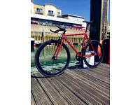 Chrome Matte Red steel frame single speed road bike fixed gear racing fixie bicycle !!!!175