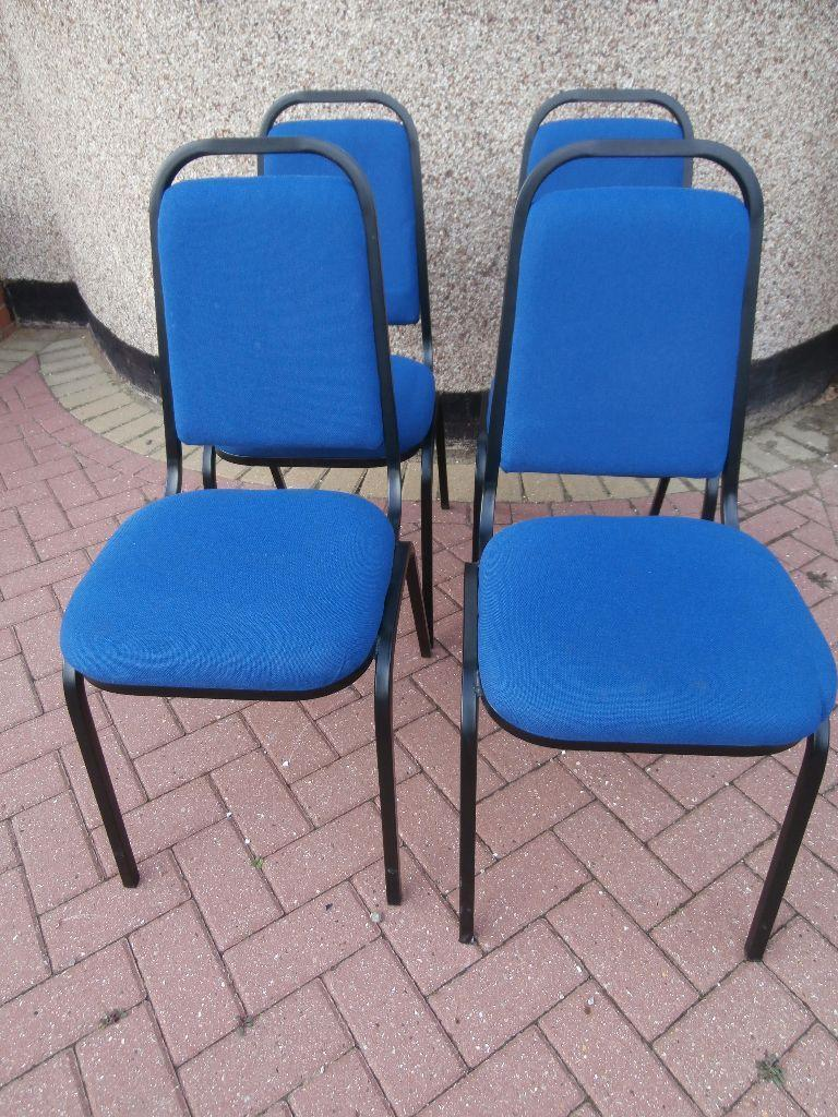 Blue Stackable Reception Chairs With Black Frame X 4 Available Delivery U