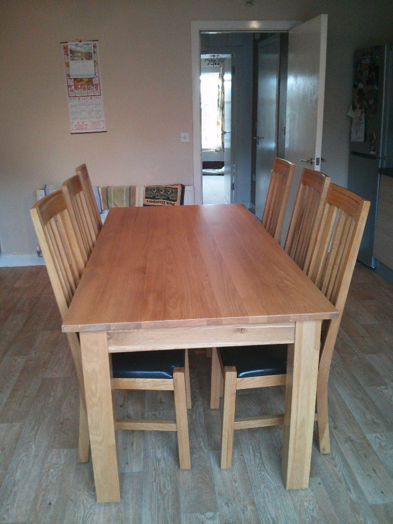 Large Solid Oak Dining Table 6 Chairs And Sideboard Large