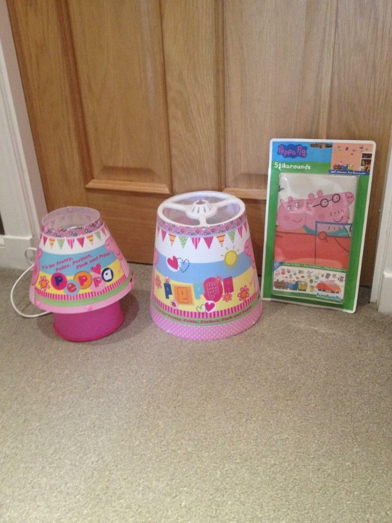 Peppa pig table lamp ceiling shade and wall stickers for for Peppa pig lamp and light shade