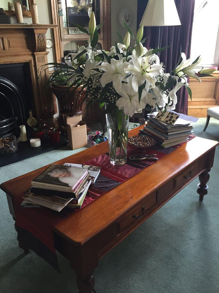 Solid Wood Coffee Table With Two Drawers In Great