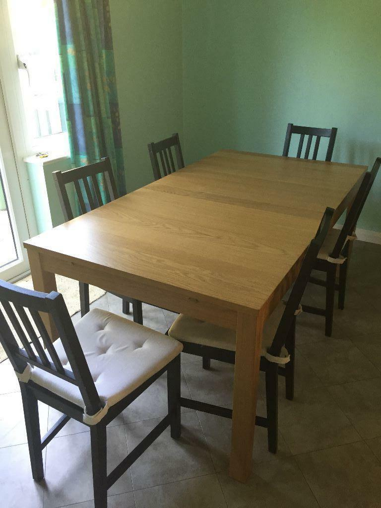 Ikea s dining extensible table 6 chairs united kingdom for Table 6 chaises ikea