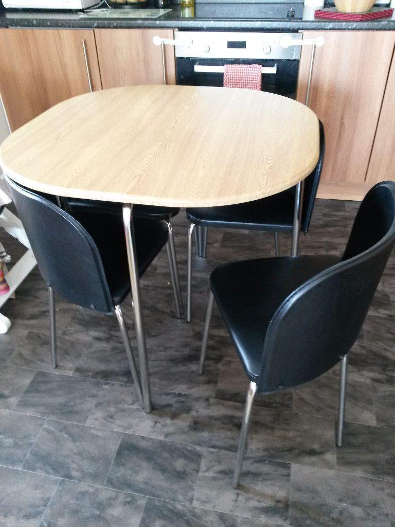 Hygena Amparo Oak Effect Dining Table and 4 Black Chairs  : 86 from gumtree.com size 768 x 1024 jpeg 98kB