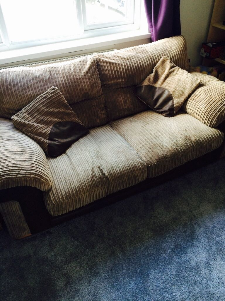 2 seater brown fabric sofa bed used good condition for Sofa bed used