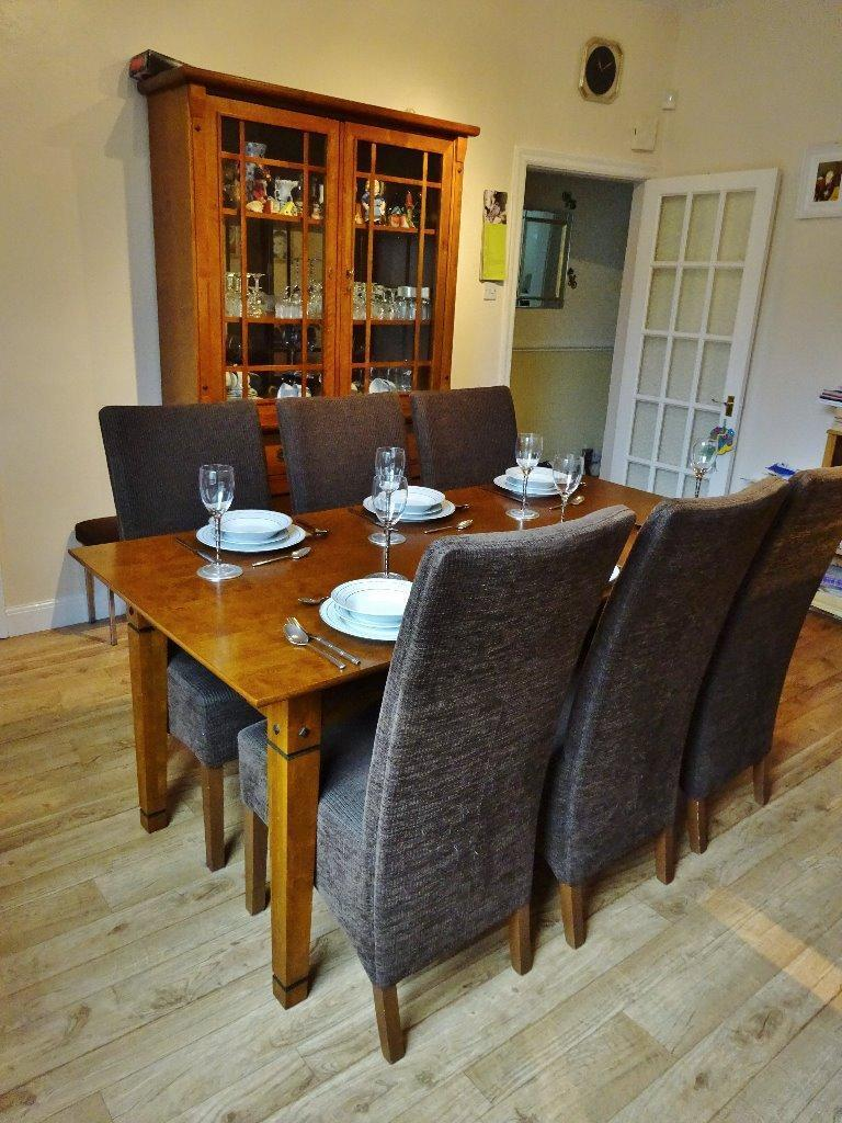 Dining Table 6 Chairs And Matching Display Cabinet United Kingdom