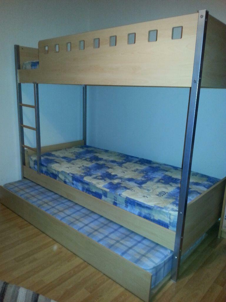 Bunk beds with a pull out guest bed incl 3 mattresses for Gumtree bunk beds