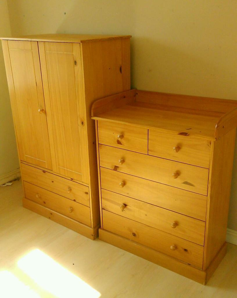 Pine Nursery Furniture Set40 Childs Pine Wardrobe With Two Draws 6 Drawer Chest Of Draws With