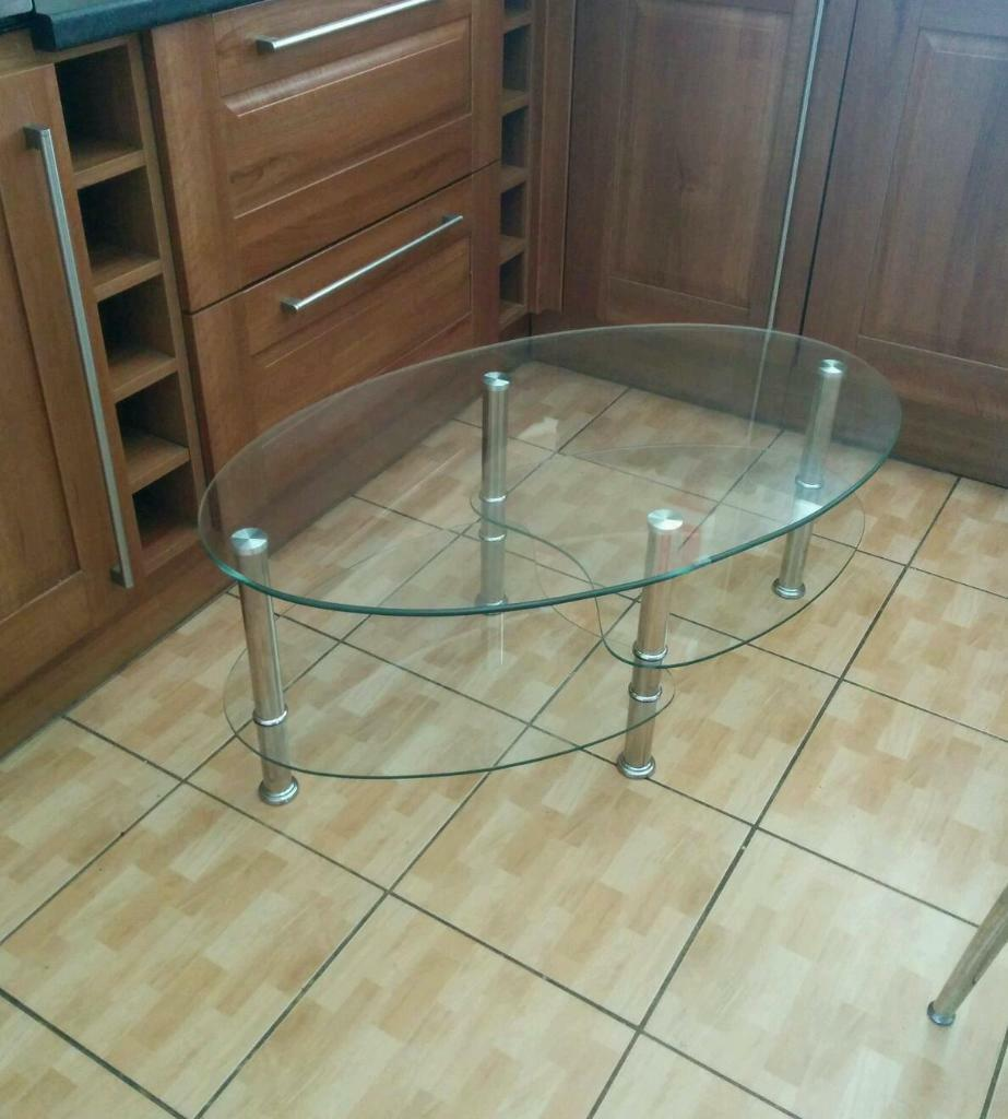 Oval Shaped Tempered Glass Coffee Table United Kingdom Gumtree
