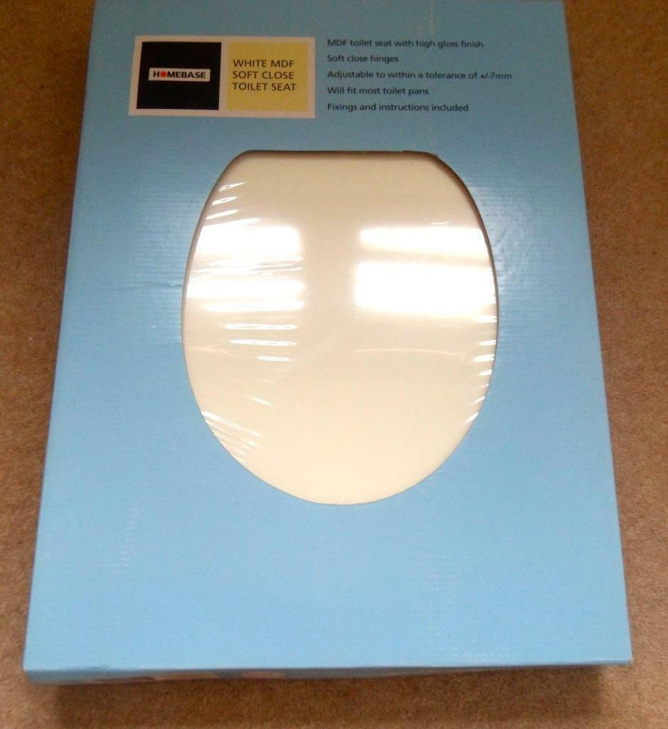 SOFT CLOSE WHITE MDF WOOD TOILET SEAT STILL IN MANUFACTURER 39 S PACKAGING