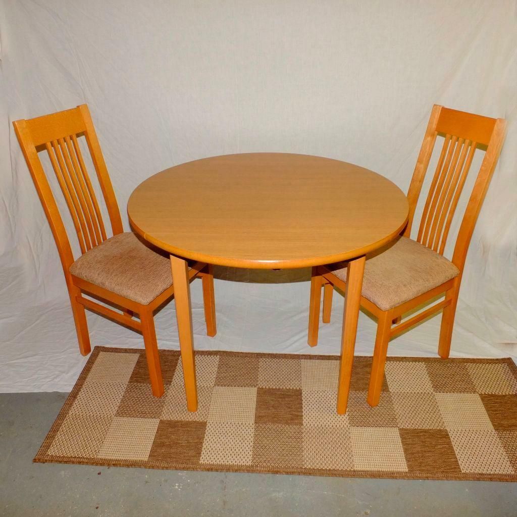 Round Drop Leaf Charles Sheraton Oak Dining Table And 2 Matching