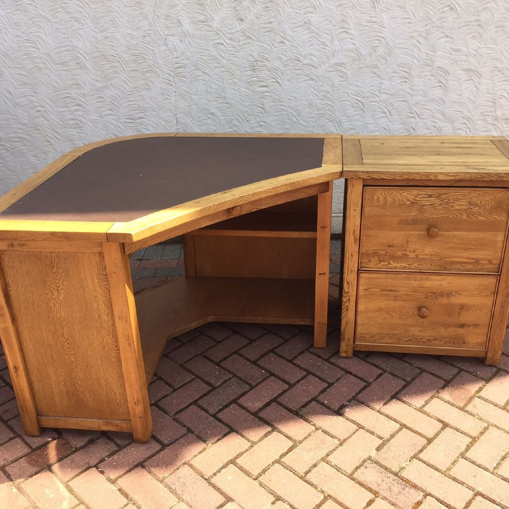 Mahogany Corner Computer Desk With Chest Of Drawers