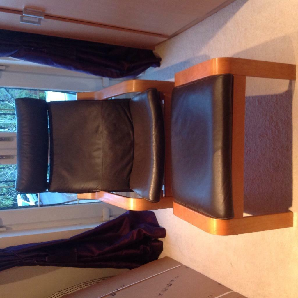 brown leather poang ikea chair and footstool united kingdom