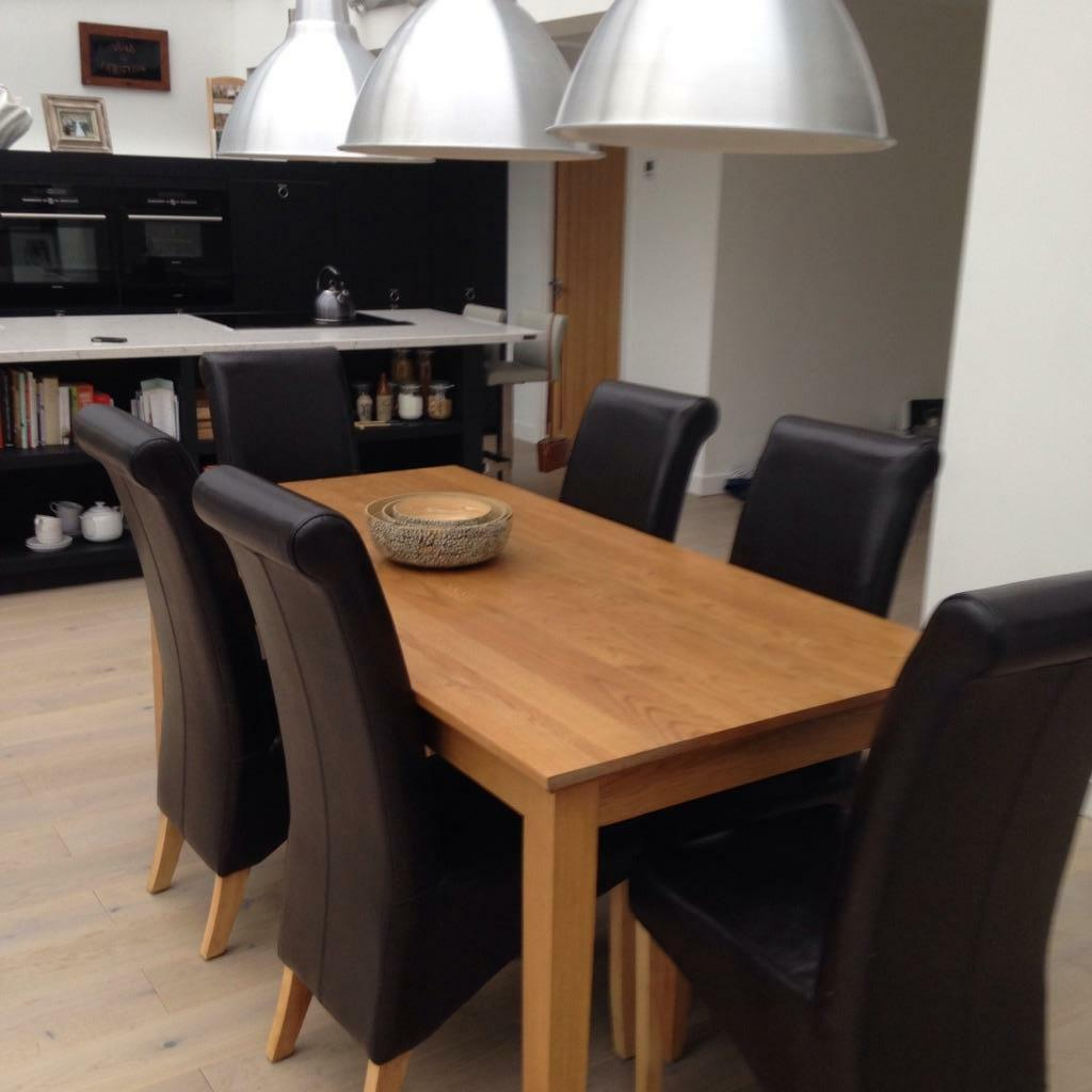 oak dining table and 6 leather chairs united kingdom gumtree
