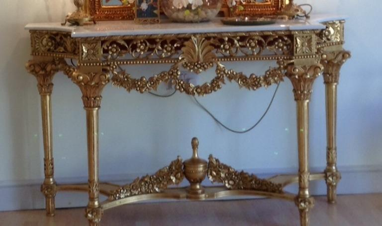 Stunning Large Gold Leaf Marble Top Consul Side Table United Kingdom