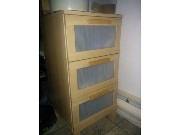 Folding Tv Dinner Table Ikea ~ IKEA ANEBODA 3 Draw Chest Bedside Table Birch Effect  3 Draw Chest of