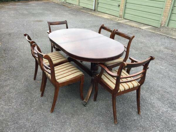 dark wood extendable table chairs good condition