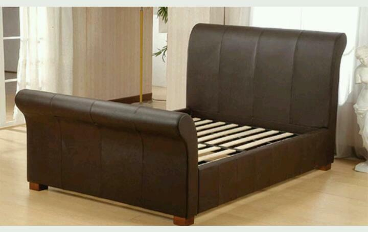 Leather Sleigh Bed King King Size Leather Sleigh Bed