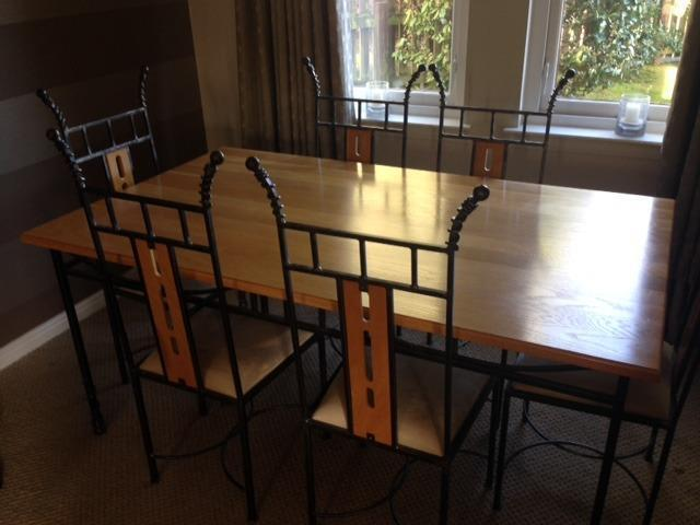 table set bespoke solid ash wrought iron dining table 6 chairs