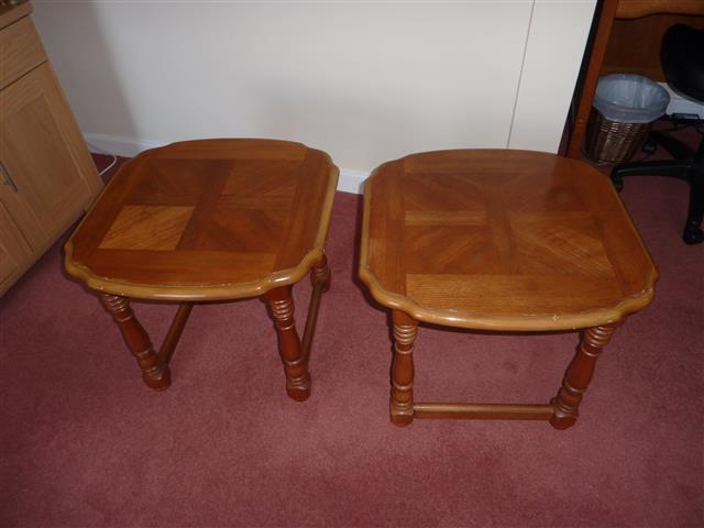 solid oak lamp tables matching pair