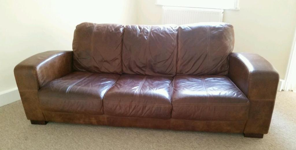 Dfs Tan Real Leather 3 Seater Sofa United Kingdom Gumtree