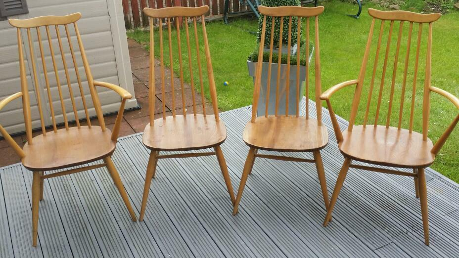 Four Ercol Goldsmith blonde dining chairs United Kingdom  : 86 from www.gumtree.com size 928 x 522 jpeg 103kB