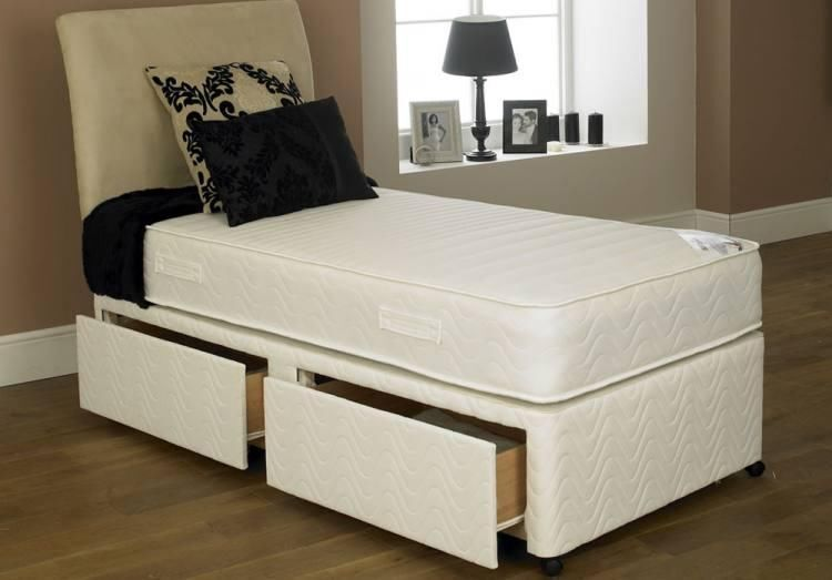Single divan bed with orthopaedic mattress headboard and for Double divan bed with slide storage
