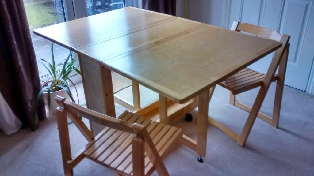 Ikea drop leaf table in solid wood and two folding chairs united kingdom gumtree - Ikea wooden dining table chairs ...