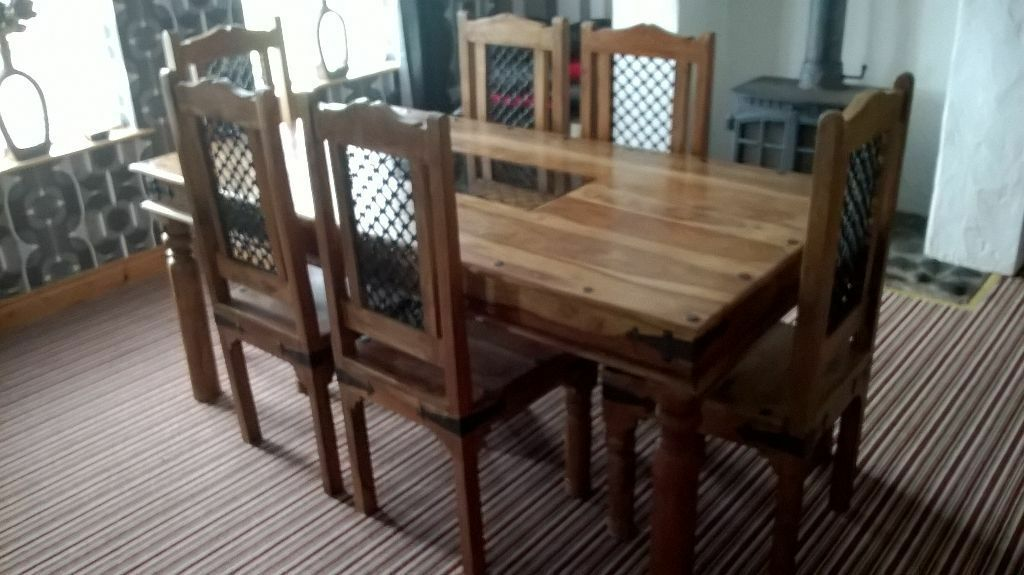 bueatiful indian pine table 6 chairs sideboard mirror united