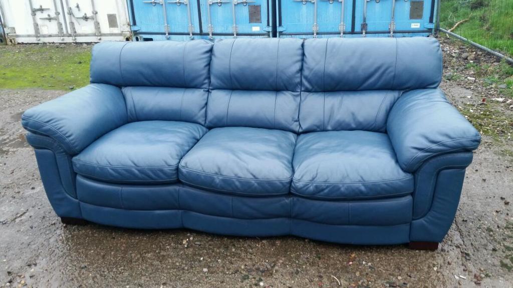 Navy Blue Italian Leather 3 Seater Sofa Navy Blue Italian