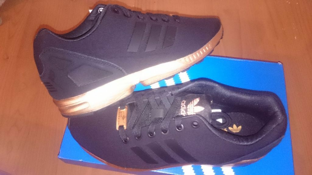 new product e3796 921ab cheap adidas zx flux trainers black and copper gold a287f fe615