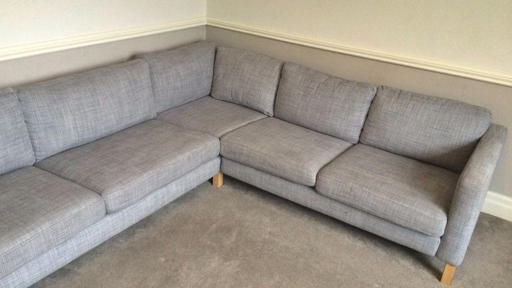 Ikea karlstad 3 2 corner sofa isunda grey for sale for Gray sofas for sale