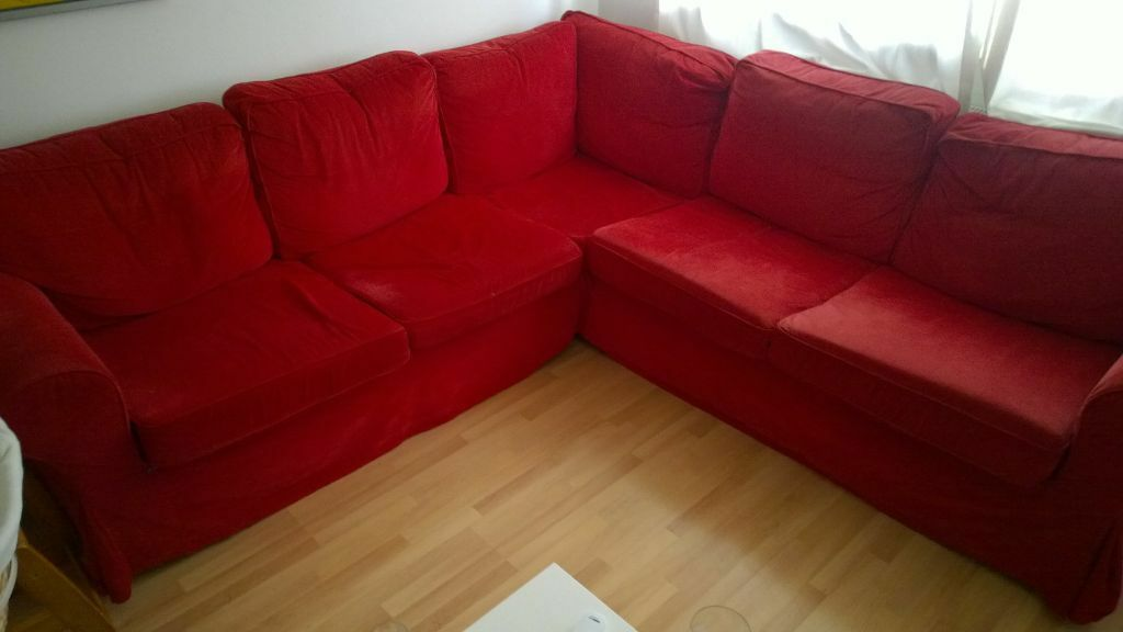 Red ikea ektorp sofa bed 3 buy sale and trade ads Couches that turn into bunk beds for sale