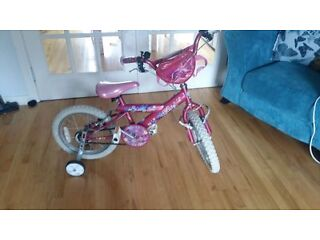 "girls pink 14"" bicycle with stabilisers"