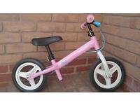 Girls balance bike in pink