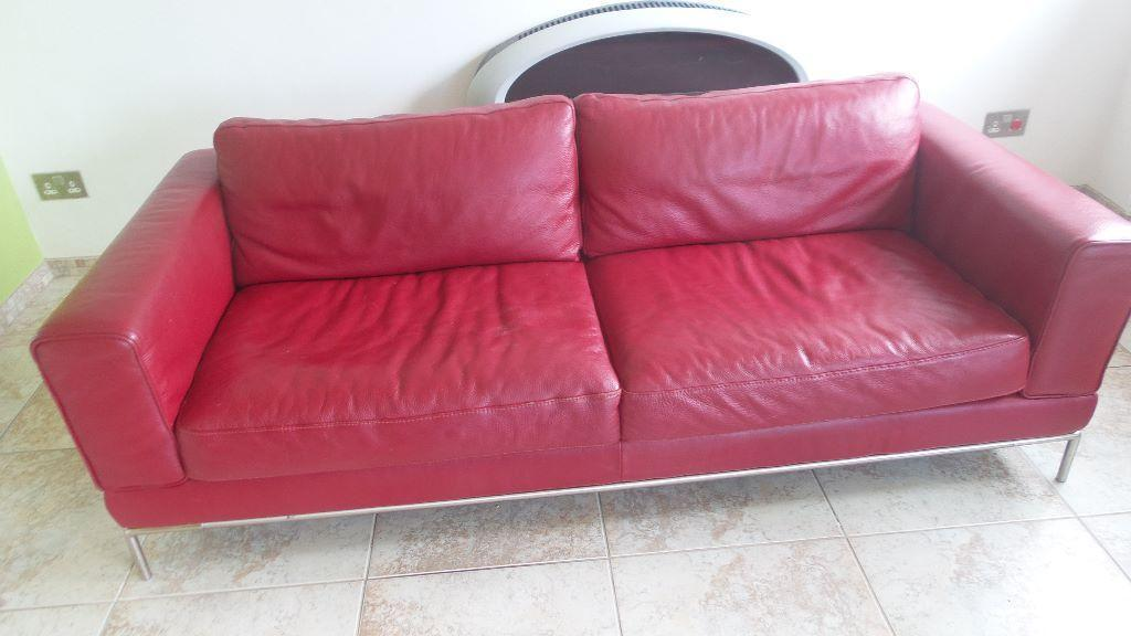 Contemporary Red Leather 3 Seater Sofa From Ikea United