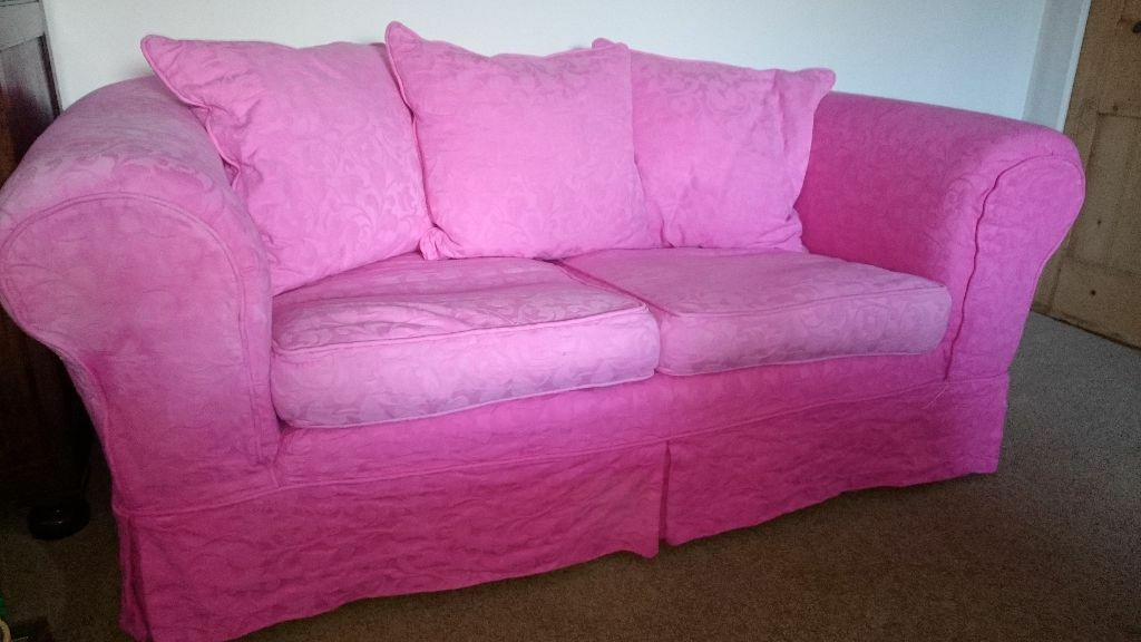 Pink 2 Seater Sofa With Removable Covers United Kingdom